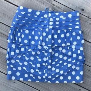 Anthro Leifsdottir Skirt Blue Polka Dot Pleats 10